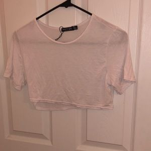White T-Shirt Cropped Top